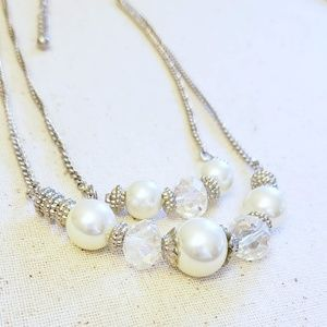 WHBM Pearl and Faceted Crystal Necklace